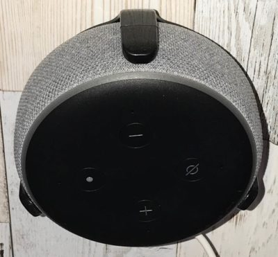 Amazon Echo Dot mounted on wall top view