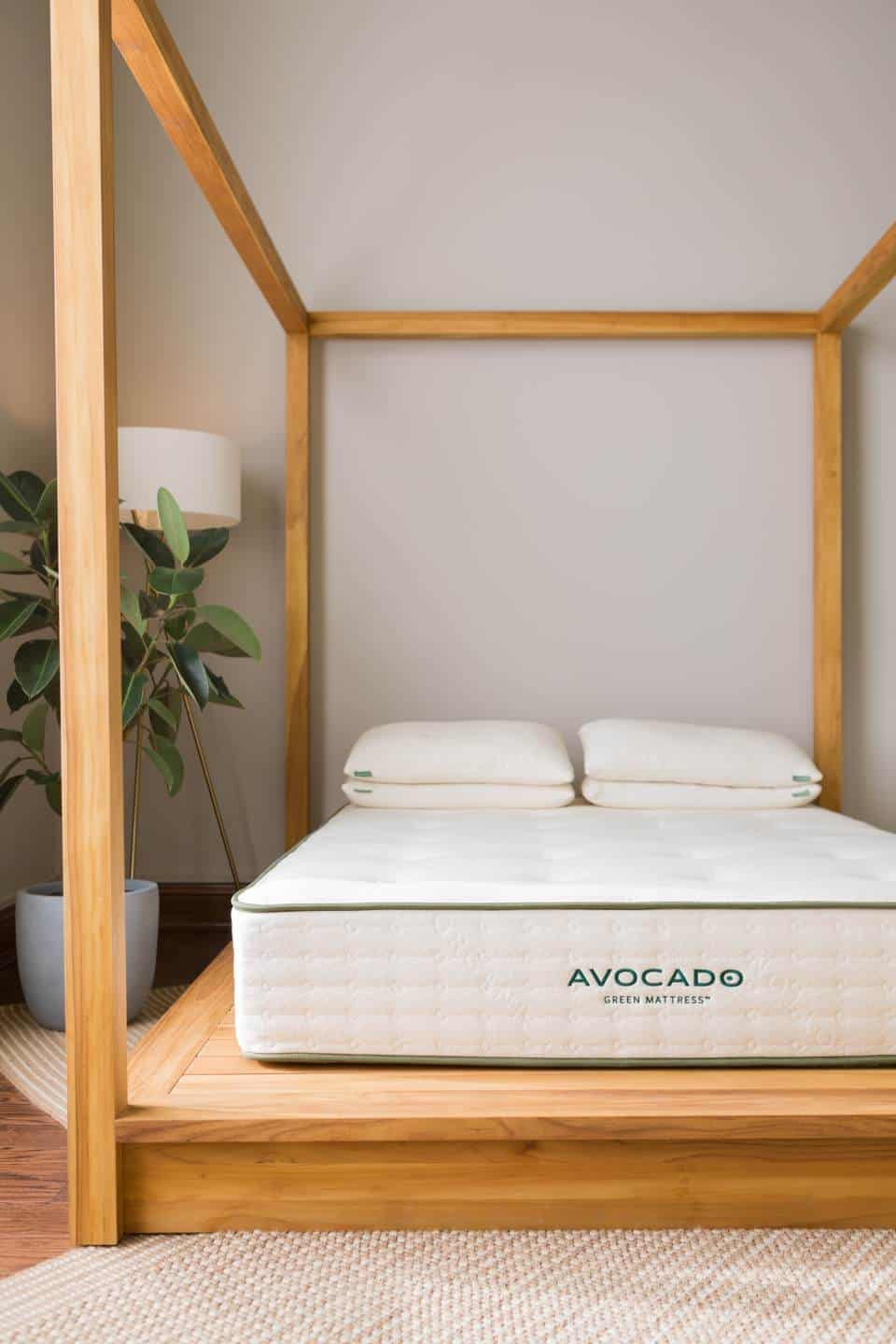Avocado RV mattress on bed frame