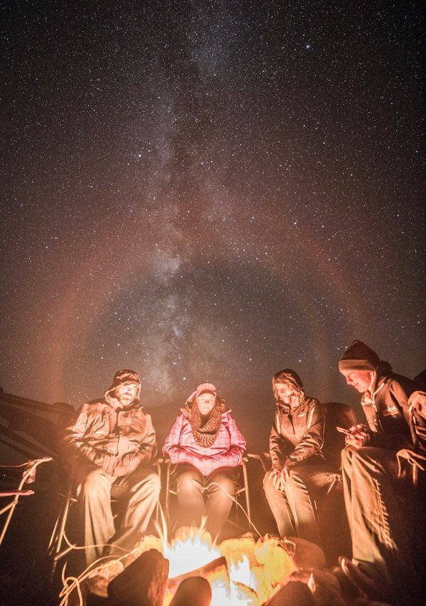 Sitting in camping chairs with Milky Way in background
