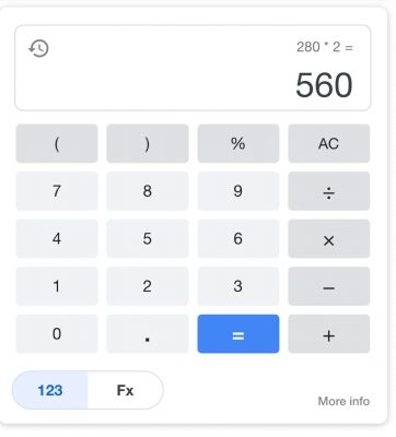 Calculation of 280x2