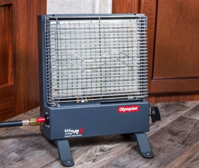 Camco Olympian Wave 3 catalytic heater in use
