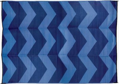 Camco Reversible RV outdoor mat blue chevron