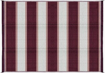 Camco Reversible RV outdoor mat burgundy stripe