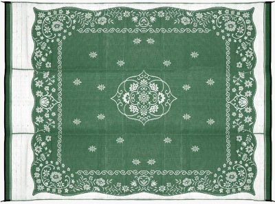 Camco Reversible RV outdoor mat oriental green