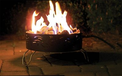 Camco portable propane fire pit in use