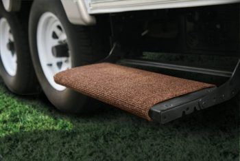 Camco wrap around RV step rug installed