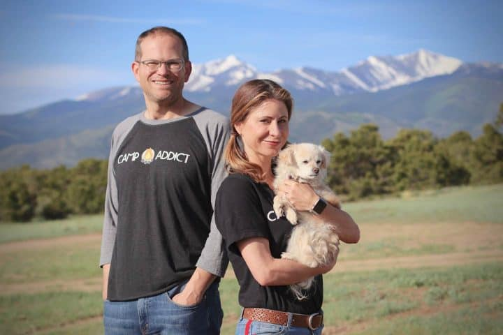 Camp Addict co-founders Kelly and Marshall mountains
