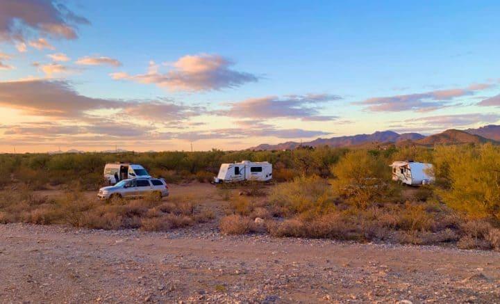 Camp Addict travel trailers plus Class B van at Snyder Hill Arizona