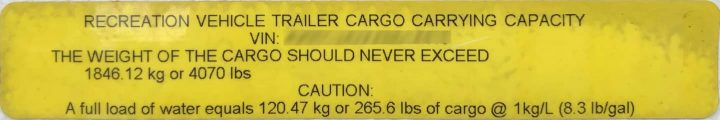 Cargo Carrying Capacity yellow sticker