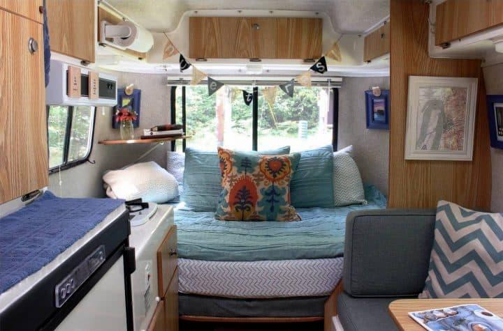 Casista small travel trailer interior looking aft