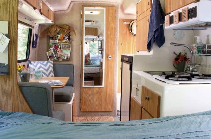Casista small travel trailer interior looking forward