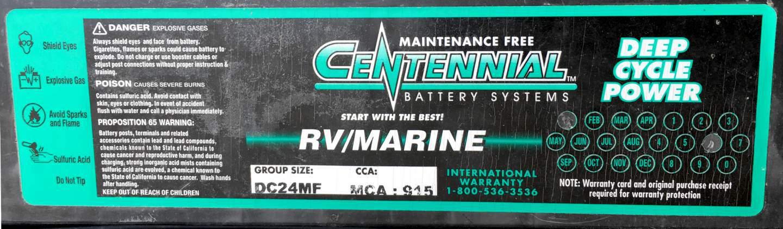Centennial Battery Systems label