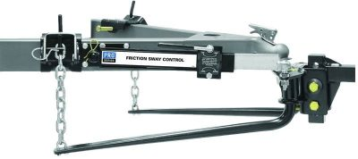 Chain style weight distribution hitch with add-on anti-sway control