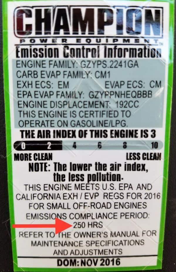 Champion generator emissions sticker