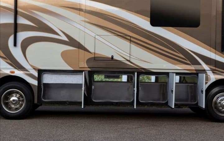 Class A motorhome exterior storage compartments