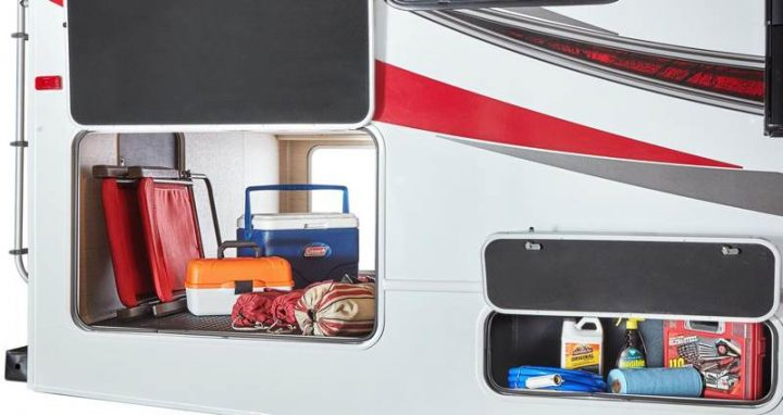 Class C RV exterior storage compartments