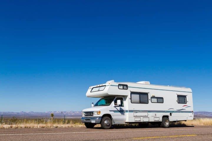 Class C motorhome in desert