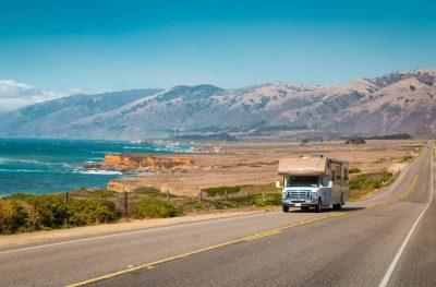 Class C motorhome on California Highway 1