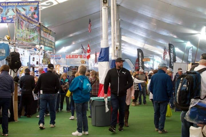Crowd inside big tent Quartzsite RV show