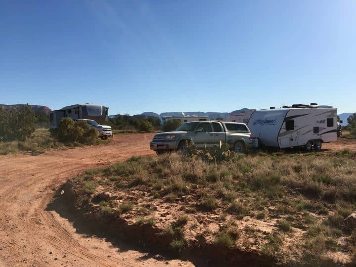Crowded dispersed camping Sedona