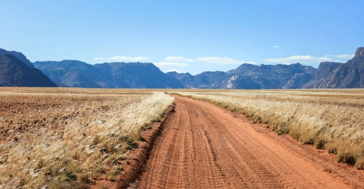 Dirt road in grasslands