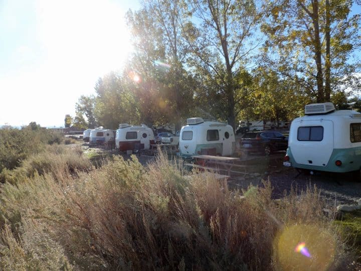 Group of Happier Camper RV trailers at campground