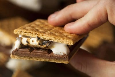 Hand holding smores