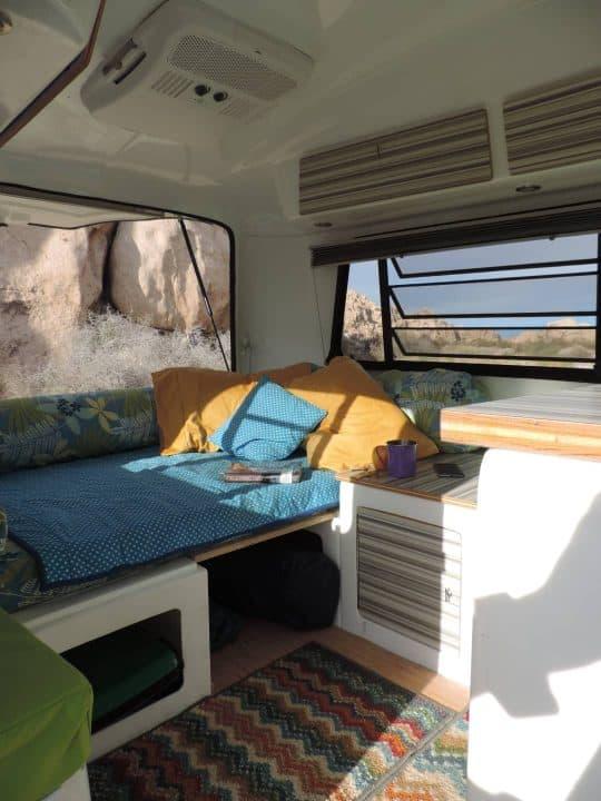 Happier Camper small pull behind trailer interior
