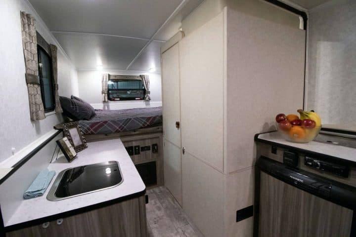 Hard side pop up camper interior