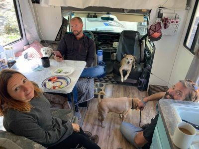 Inside Hannah's rig with dogs