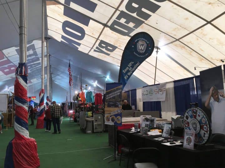 Inside Quartzsite RV show big tent