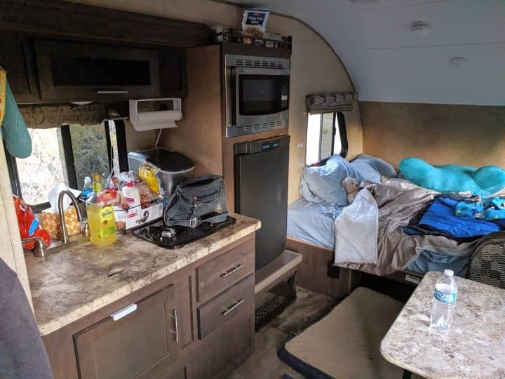Interior of Jim's Rpod small trailer
