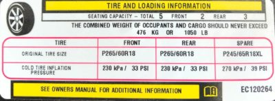 Jeep tire pressure placard