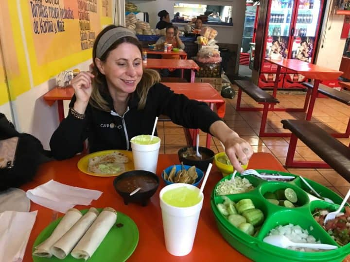 Kelly eating tacos in Algodones Mexico