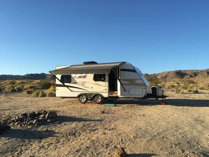 Kellys travel trailer in the desert