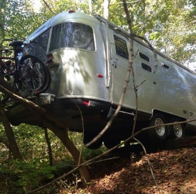 Kerri Airstream hanging over edge