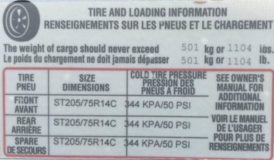 Lance tire pressure placard