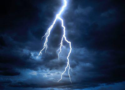 Lightning strike over clouds