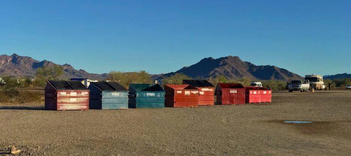 Line of dumpsters Quartzsite