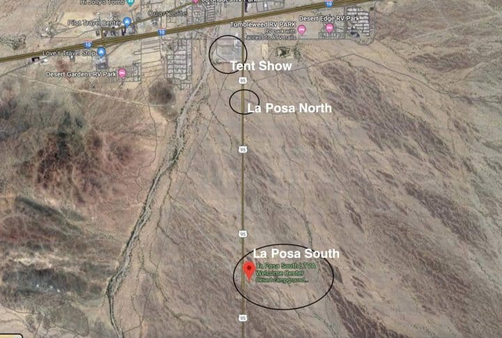 Map Showing La Posa and Tent Show