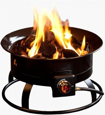 Outland Firebowl lit camping fire pit