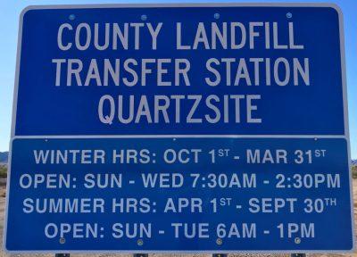 Quartzsite Transfer Station sign