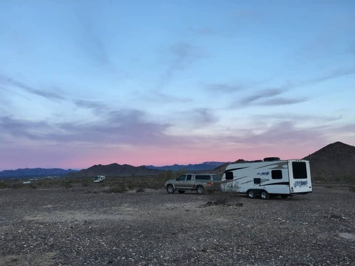 Quartzsite boondocking sunset