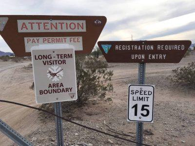 Quartzsite long term visitor area boundary sign