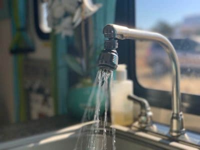RV kitchen faucet running