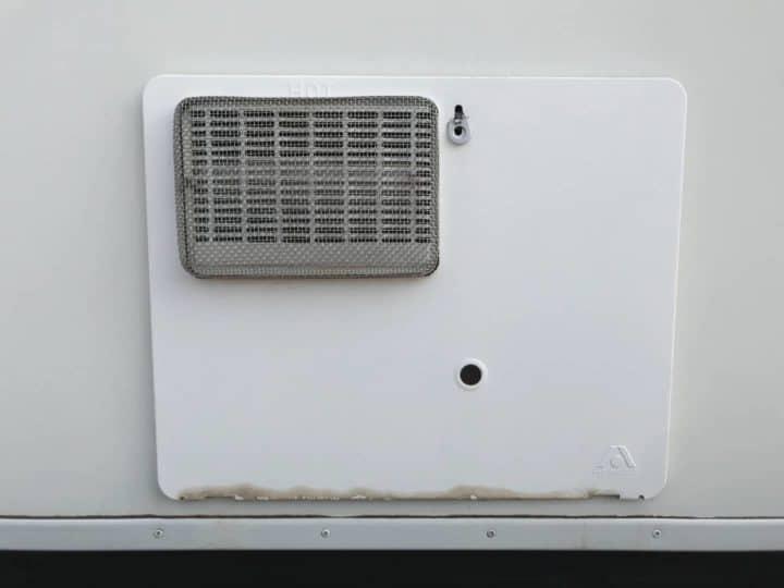 RV water heater door closed