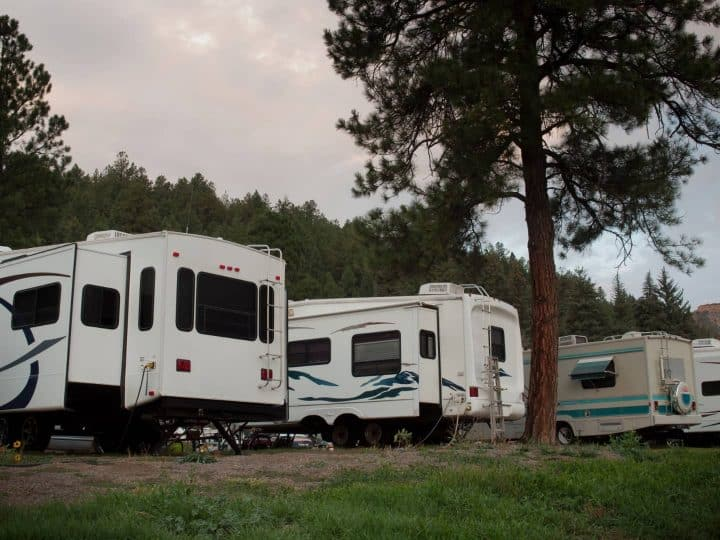 RVs at busy campground
