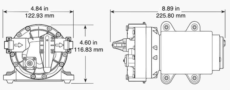 Remco Aquajet RV water pump dimensions