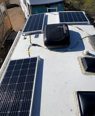 Rooftop solar install done looking aft
