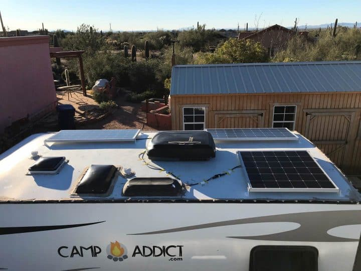 Rooftop solar install done side view
